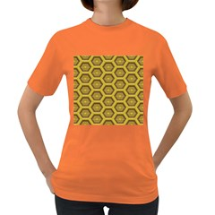 Golden 3d Hexagon Background Women s Dark T Shirt