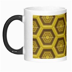 Golden 3d Hexagon Background Morph Mugs