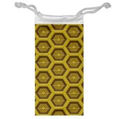 Golden 3d Hexagon Background Jewelry Bag