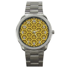 Golden 3d Hexagon Background Sport Metal Watch