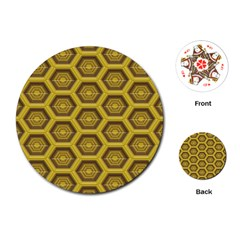Golden 3d Hexagon Background Playing Cards (round)