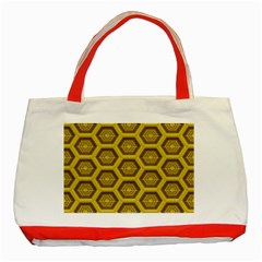 Golden 3d Hexagon Background Classic Tote Bag (red)
