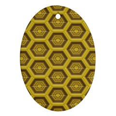 Golden 3d Hexagon Background Oval Ornament (two Sides)
