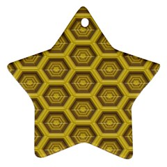 Golden 3d Hexagon Background Star Ornament (two Sides)