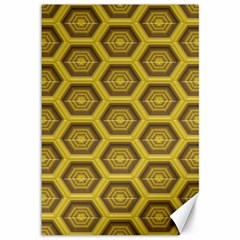 Golden 3d Hexagon Background Canvas 12  X 18