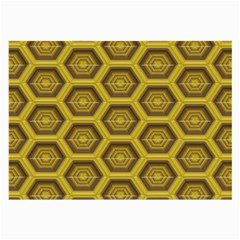 Golden 3d Hexagon Background Large Glasses Cloth (2 Side)