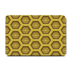 Golden 3d Hexagon Background Small Doormat