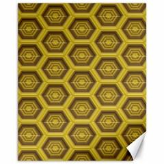 Golden 3d Hexagon Background Canvas 11  x 14