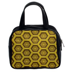 Golden 3d Hexagon Background Classic Handbags (2 Sides)