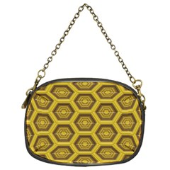 Golden 3d Hexagon Background Chain Purses (one Side)