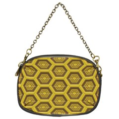 Golden 3d Hexagon Background Chain Purses (two Sides)