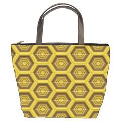Golden 3d Hexagon Background Bucket Bags