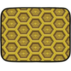 Golden 3d Hexagon Background Fleece Blanket (Mini)