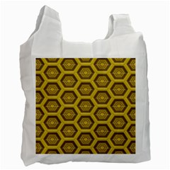 Golden 3d Hexagon Background Recycle Bag (two Side)