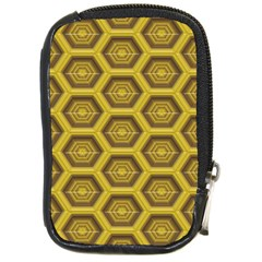 Golden 3d Hexagon Background Compact Camera Cases