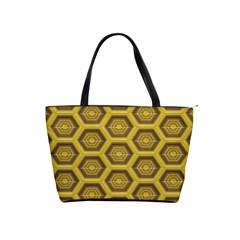 Golden 3d Hexagon Background Shoulder Handbags