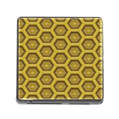Golden 3d Hexagon Background Memory Card Reader (square)