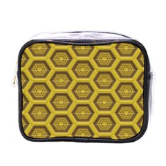 Golden 3d Hexagon Background Mini Toiletries Bags