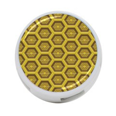 Golden 3d Hexagon Background 4 Port Usb Hub (two Sides)