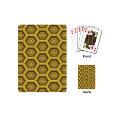 Golden 3d Hexagon Background Playing Cards (mini)