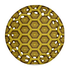 Golden 3d Hexagon Background Round Filigree Ornament (two Sides)