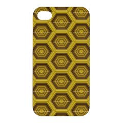 Golden 3d Hexagon Background Apple iPhone 4/4S Hardshell Case