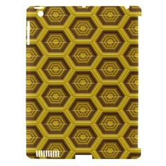 Golden 3d Hexagon Background Apple Ipad 3/4 Hardshell Case (compatible With Smart Cover)