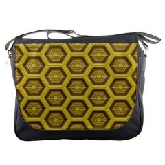 Golden 3d Hexagon Background Messenger Bags