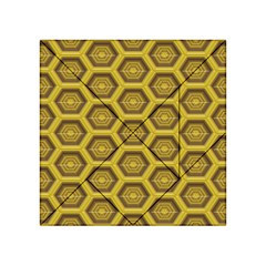 Golden 3d Hexagon Background Acrylic Tangram Puzzle (4  X 4 )