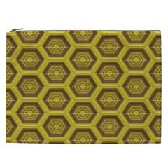 Golden 3d Hexagon Background Cosmetic Bag (xxl)