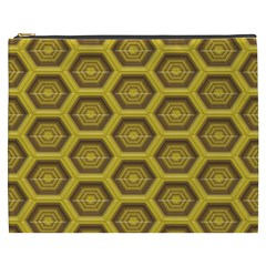 Golden 3d Hexagon Background Cosmetic Bag (XXXL)