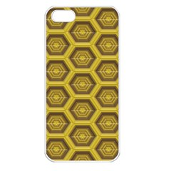 Golden 3d Hexagon Background Apple iPhone 5 Seamless Case (White)