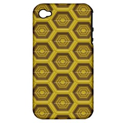 Golden 3d Hexagon Background Apple Iphone 4/4s Hardshell Case (pc+silicone)