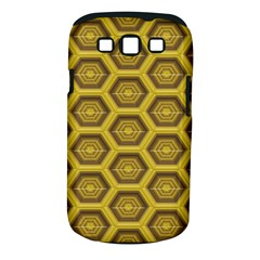 Golden 3d Hexagon Background Samsung Galaxy S III Classic Hardshell Case (PC+Silicone)