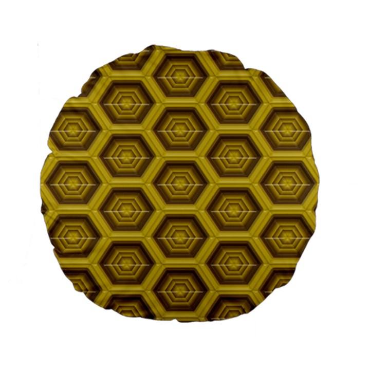 Golden 3d Hexagon Background Standard 15  Premium Round Cushions