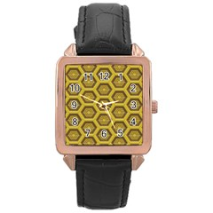 Golden 3d Hexagon Background Rose Gold Leather Watch