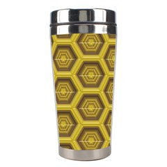 Golden 3d Hexagon Background Stainless Steel Travel Tumblers