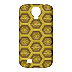 Golden 3d Hexagon Background Samsung Galaxy S4 Classic Hardshell Case (pc+silicone)