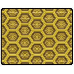 Golden 3d Hexagon Background Double Sided Fleece Blanket (medium)