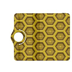 Golden 3d Hexagon Background Kindle Fire Hdx 8 9  Flip 360 Case