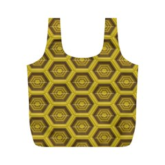 Golden 3d Hexagon Background Full Print Recycle Bags (m)
