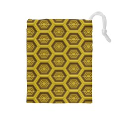 Golden 3d Hexagon Background Drawstring Pouches (large)