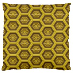 Golden 3d Hexagon Background Standard Flano Cushion Case (one Side)