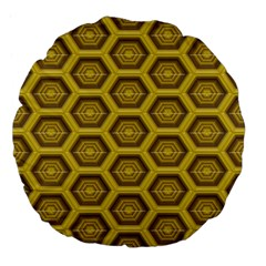 Golden 3d Hexagon Background Large 18  Premium Flano Round Cushions