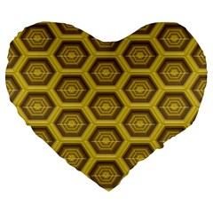 Golden 3d Hexagon Background Large 19  Premium Flano Heart Shape Cushions