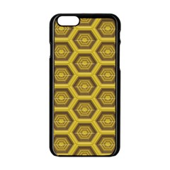 Golden 3d Hexagon Background Apple Iphone 6/6s Black Enamel Case