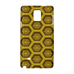 Golden 3d Hexagon Background Samsung Galaxy Note 4 Hardshell Case