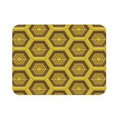 Golden 3d Hexagon Background Double Sided Flano Blanket (mini)