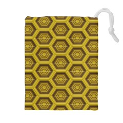 Golden 3d Hexagon Background Drawstring Pouches (extra Large)