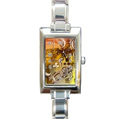 Symbols On Gradient Background Embossed Rectangle Italian Charm Watch